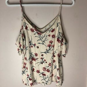 Floral cream colored American Eagle tank top